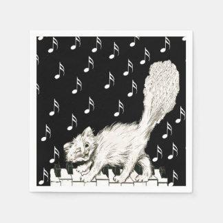 Serviette En Papier Le chat blanc sur le piano verrouille des notes de