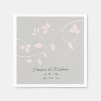 Serviette En Papier Le pastel élégant rougissent mariage (gris) de
