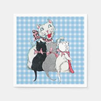 Serviette En Papier Les chatons vintages du chat trois de mère