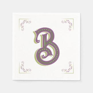 Serviette En Papier Lettre B, style vintage élégant de monogramme