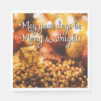 Serviette En Papier L'or de Noël de vacances soit de joyeuses