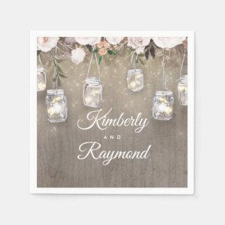Serviette En Papier Lumières rustiques florales de pot de maçon