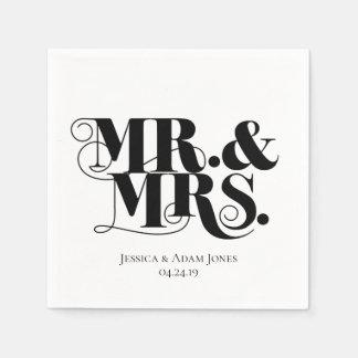 Serviette En Papier M. et Mme conçoivent, cru, style élégant