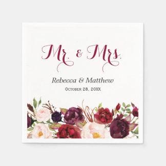Serviette En Papier M. et Mme floraux rouges rustiques Wedding de