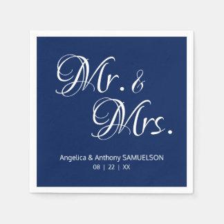 Serviette En Papier M. et Mme personnalisés mariage blanc de bleu