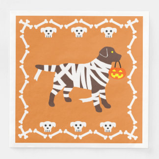 Serviette En Papier Maman de Labrador de chocolat de Halloween