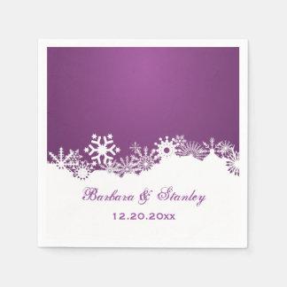 Serviette En Papier Mariage blanc pourpre d'hiver de flocon de neige
