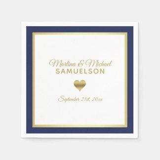 Serviette En Papier Mariage de cadre de coeur d'or blanc de bleu