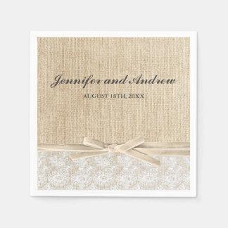 Serviette En Papier Mariage en ivoire de ruban de dentelle rustique de