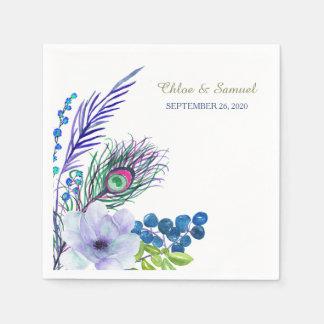 Serviette En Papier Mariage floral bleu de plume de Boho