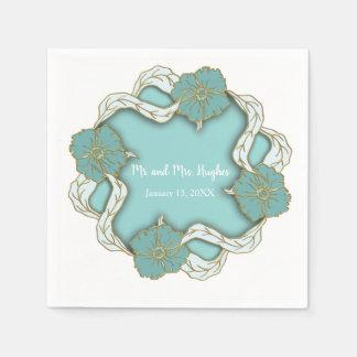 Serviette En Papier Mariage floral de monogramme de turquoise
