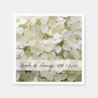 Serviette En Papier Mariage floral d'hortensia blanc