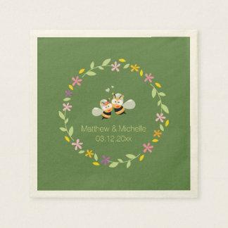 Serviette En Papier Mariage floral lunatique de guirlande de région
