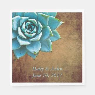 Serviette En Papier Mariage ou fiançailles succulent Brown rustique