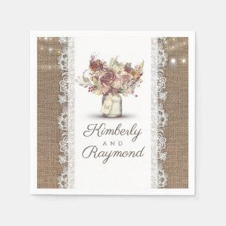 Serviette En Papier Mariage rustique floral de dentelle de pot et de