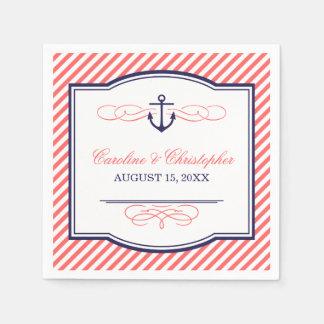 Serviette En Papier Marine et monogramme nautique de corail de mariage