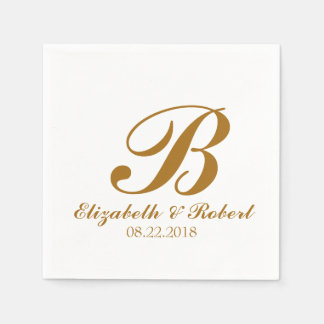 Serviette En Papier Monogramme blanc de mariage d'or