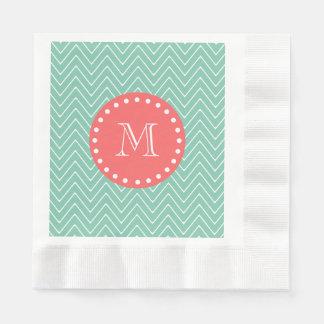 Serviette En Papier Monogramme de corail vert en bon état du motif |