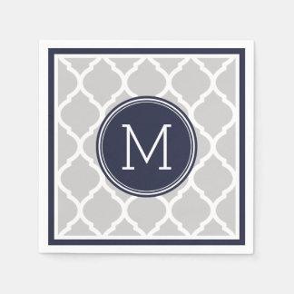 Serviette En Papier Monogramme de mariage de Quatrefoil de bleu marine