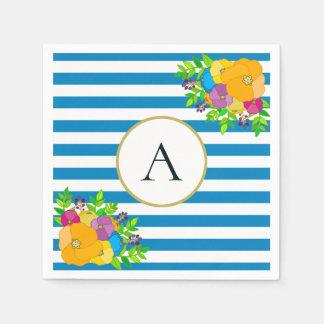 Serviette En Papier Monogramme floral lumineux rayé de blanc bleu chic