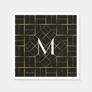 Serviette En Papier Monogramme géométrique élégant de motif d'art déco