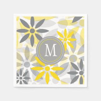 Serviette En Papier Monogramme gris jaune de graphique de fleur