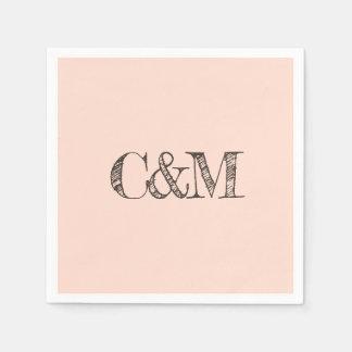 Serviette En Papier Monogramme. Typographie simple pour le mariage de