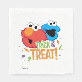 Serviette En Papier Monstre de biscuit et Elmo - des bonbons ou un
