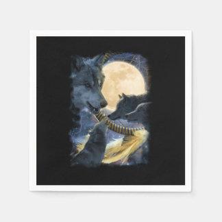 Serviette En Papier Montagne de lune de loup d'imaginaire