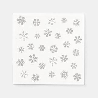 Serviette En Papier Motif blanc argenté de flocons de neige