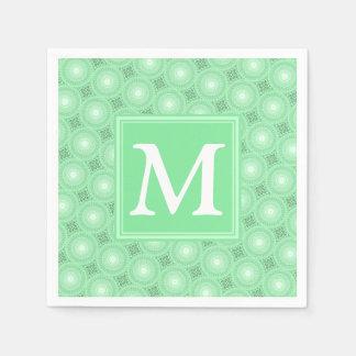 Serviette En Papier Motif de cercles de vert de ressort de monogramme