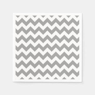 Serviette En Papier Motif en zig-zag blanc gris-foncé de Chevron