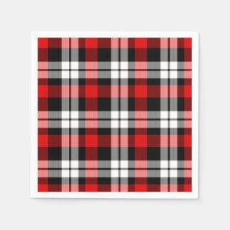 Serviette En Papier Motif noir blanc rouge frais de tartan de bûcheron