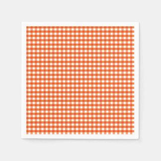 Serviette En Papier Motif orange et blanc de guingan