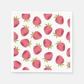 Serviette En Papier Motif sans couture de fraise rose douce