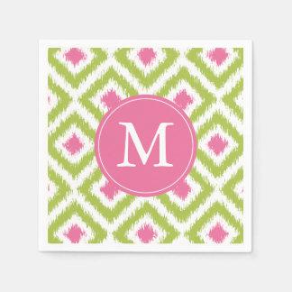 Serviette En Papier Motif vert et rose décoré d'un monogramme de
