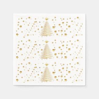 Serviette En Papier Noël d'or réglé - serviettes de papier de cocktail