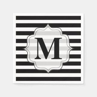 Serviette En Papier Noir et blanc barre des serviettes de monogramme