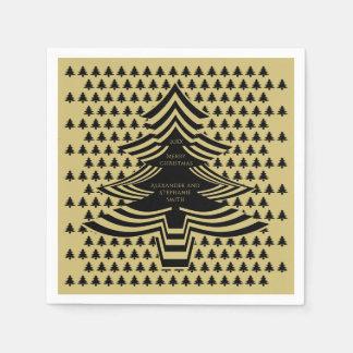 Serviette En Papier Noir/motif d'arbre de police d'image Noël d'or