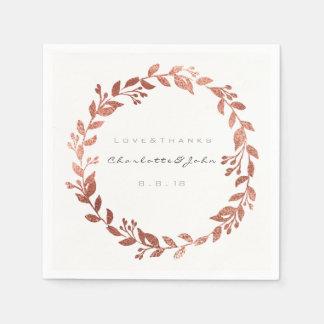 Serviette En Papier Nom rose urbain métallique blanc de guirlande d'or