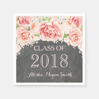 Serviette En Papier Obtention du diplôme 2018 florale de tableau