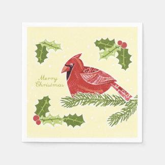 Serviette En Papier Oiseau cardinal de Joyeux Noël sur la branche avec