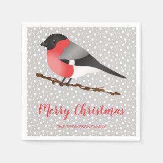 Serviette En Papier Oiseau d'hiver de Personalizable et texte de