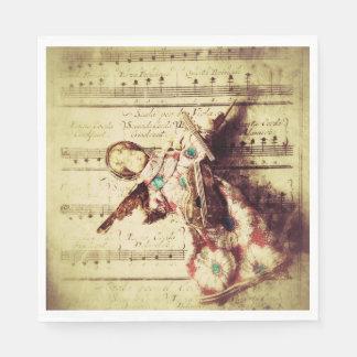 Serviette En Papier Ornement vintage d'ange sur la musique