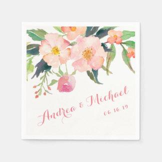 Serviette En Papier Papier floral de mariage de jardin botanique