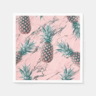 Serviette En Papier Partie moderne de remous de marbre rose d'ananas