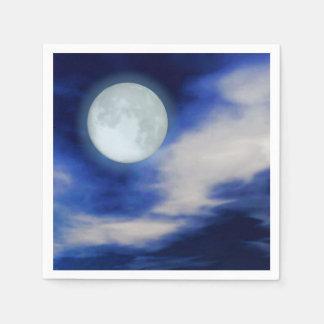 Serviette En Papier Paysage lunaire avec les nuages éclairés par la
