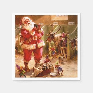 Serviette En Papier Père Noël dans la grange de renne