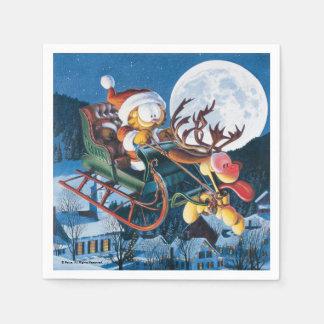 Serviette En Papier Père Noël Garfield et Rudolph Odie