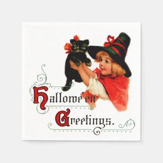 Serviette En Papier Petite serviette vintage de sorcière de Halloween